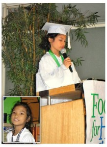 Toni delivered the graduation speech of her batch last March 2013. (Inset: Toni during her elementary years in HM Manila