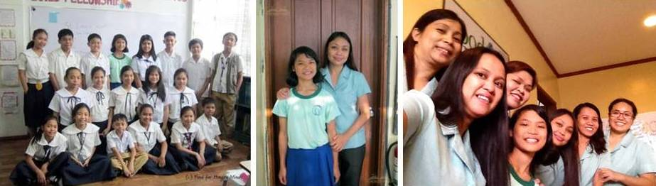 "Photos: (Left) Toni with her ""students"" for the day, Grade 6 HM Manila kids; (Middle): Toni with one of her favorite HM Teachers, Teacher Mel; and (Right): with the Hungry Minds team who saw her grow from the time she was in Elementary."